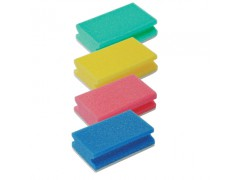 Colour coded finger-grip scourer