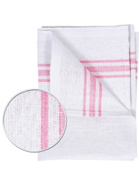 45x74cm - White Cotton Tea Towel - (1x10) - White/Red